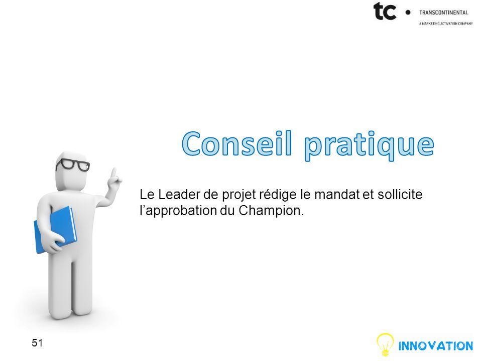 Le Leader de projet rédige le mandat et sollicite lapprobation du Champion. 51