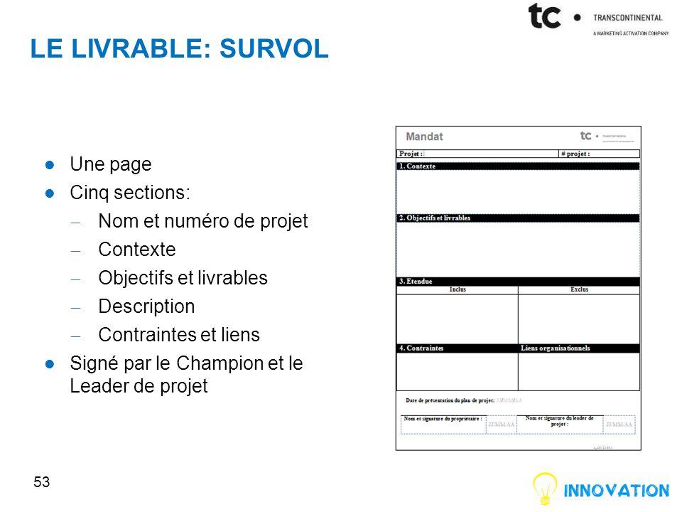 LE LIVRABLE: SURVOL Une page Cinq sections: Nom et numéro de projet Contexte Objectifs et livrables Description Contraintes et liens Signé par le Champion et le Leader de projet 53