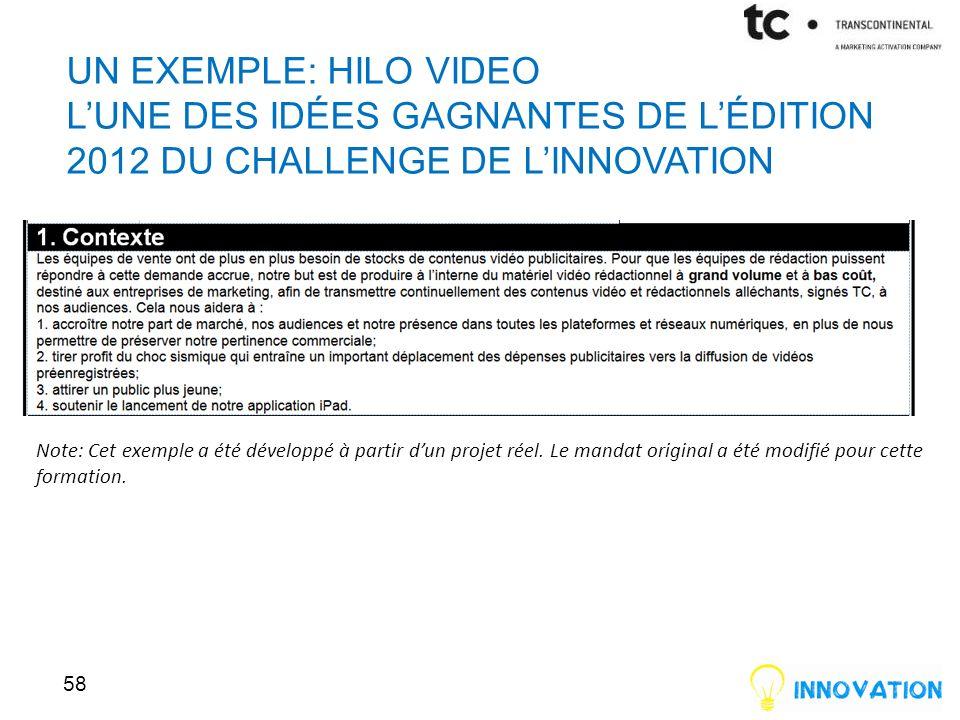 UN EXEMPLE: HILO VIDEO LUNE DES IDÉES GAGNANTES DE LÉDITION 2012 DU CHALLENGE DE LINNOVATION 58 Note: Cet exemple a été développé à partir dun projet réel.
