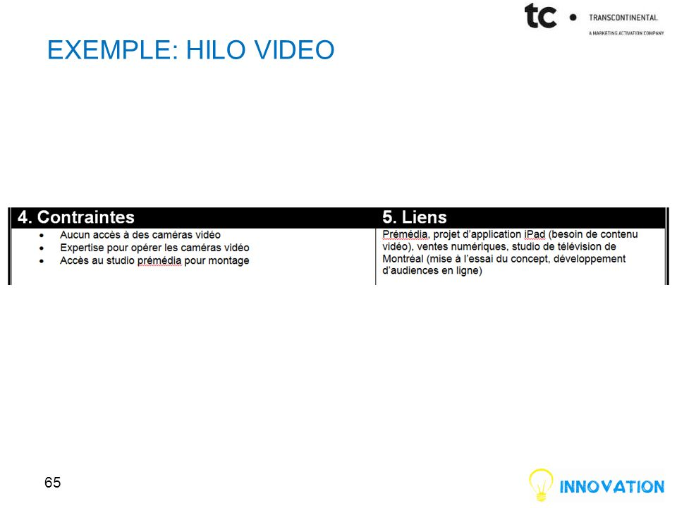 EXEMPLE: HILO VIDEO 65