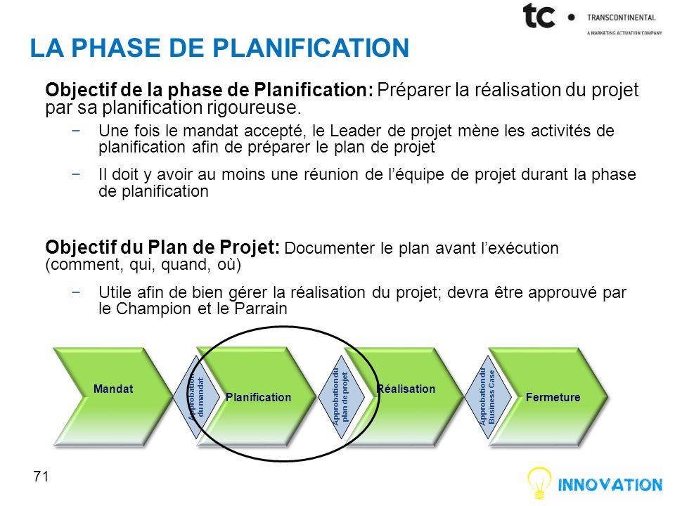 LA PHASE DE PLANIFICATION Objectif de la phase de Planification: Préparer la réalisation du projet par sa planification rigoureuse.