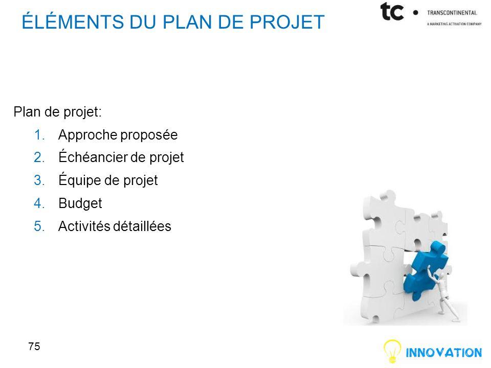 ÉLÉMENTS DU PLAN DE PROJET Plan de projet: 1.Approche proposée 2.Échéancier de projet 3.Équipe de projet 4.Budget 5.Activités détaillées 75