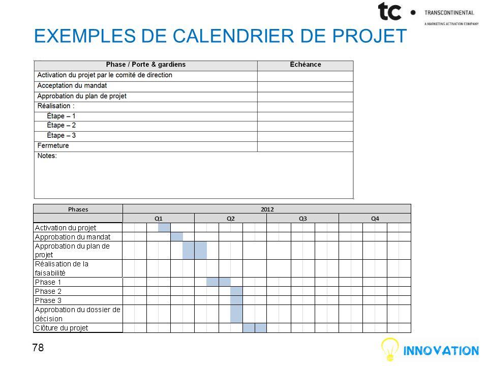EXEMPLES DE CALENDRIER DE PROJET 78