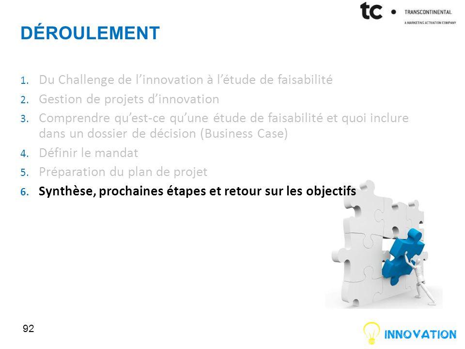 DÉROULEMENT 92 1.Du Challenge de linnovation à létude de faisabilité 2.