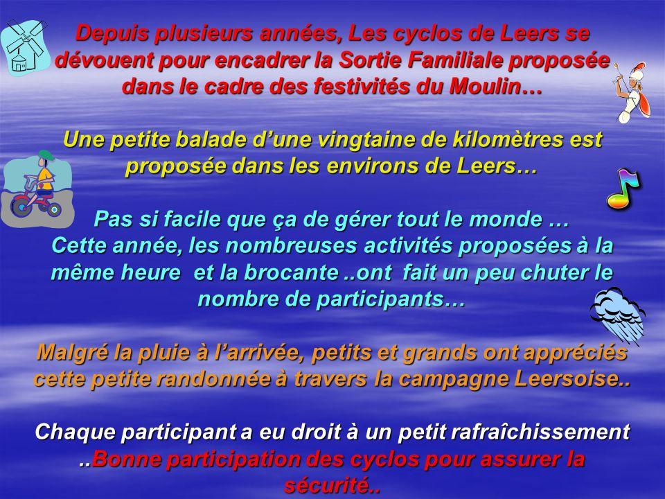 Depuis plusieurs années, Les cyclos de Leers se dévouent pour encadrer la Sortie Familiale proposée dans le cadre des festivités du Moulin… Une petite