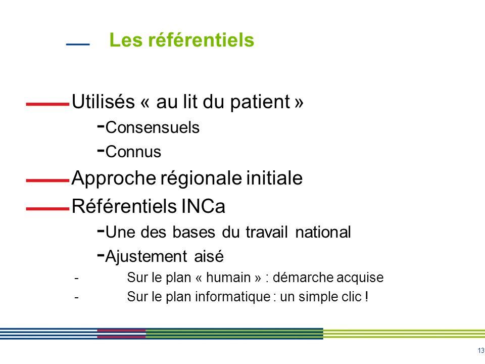 13 Les référentiels Utilisés « au lit du patient » - Consensuels - Connus Approche régionale initiale Référentiels INCa - Une des bases du travail nat
