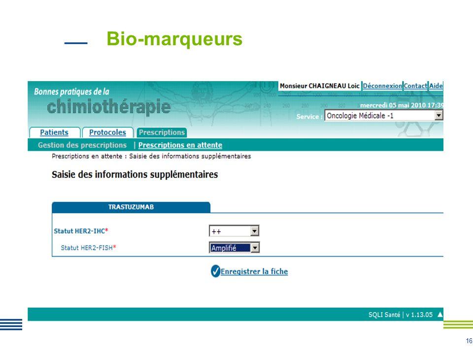 16 Bio-marqueurs
