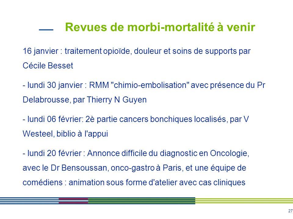 27 Revues de morbi-mortalité à venir 16 janvier : traitement opioïde, douleur et soins de supports par Cécile Besset - lundi 30 janvier : RMM