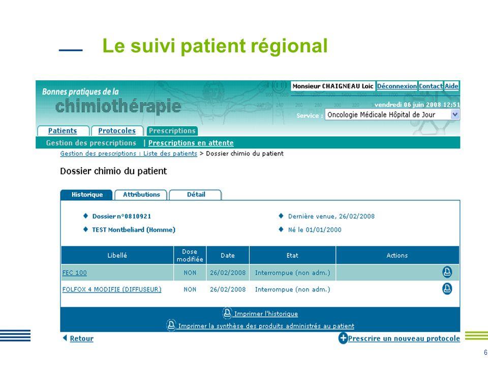6 Le suivi patient régional