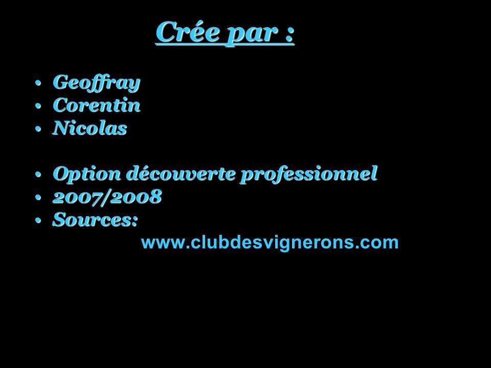 Crée par : Crée par : GeoffrayGeoffray CorentinCorentin NicolasNicolas Option découverte professionnelOption découverte professionnel 2007/20082007/2008 Sources:Sources: www.clubdesvignerons.com