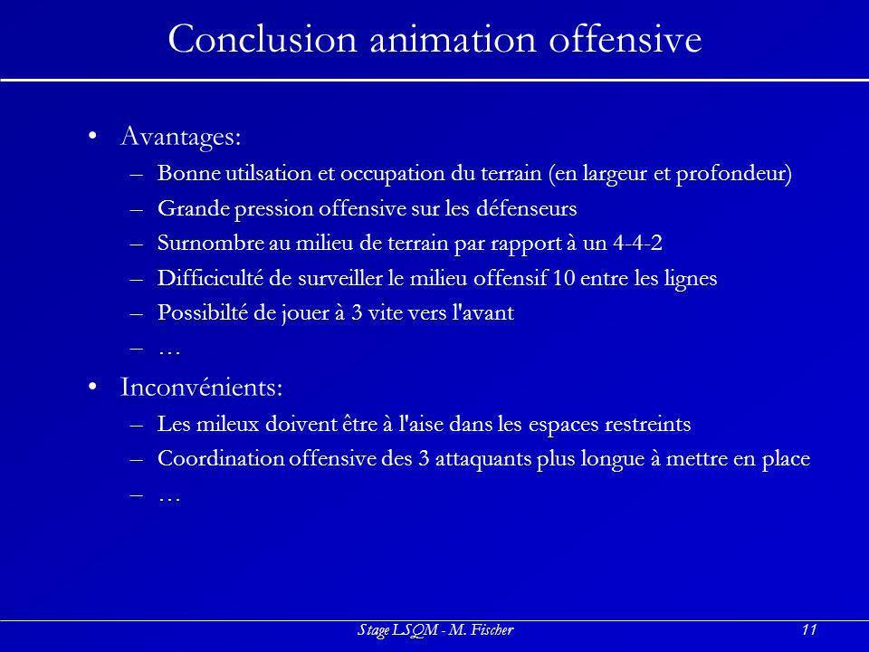 Stage LSQM - M. Fischer11 Conclusion animation offensive Avantages: –B–Bonne utilsation et occupation du terrain (en largeur et profondeur) –G–Grande