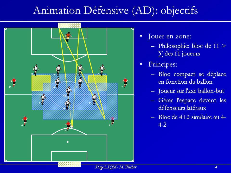 Stage LSQM - M. Fischer4 Animation Défensive (AD): objectifs Jouer en zone: –P–Philosophie: bloc de 11 > des 11 joueurs Principes: –B–Bloc compact se