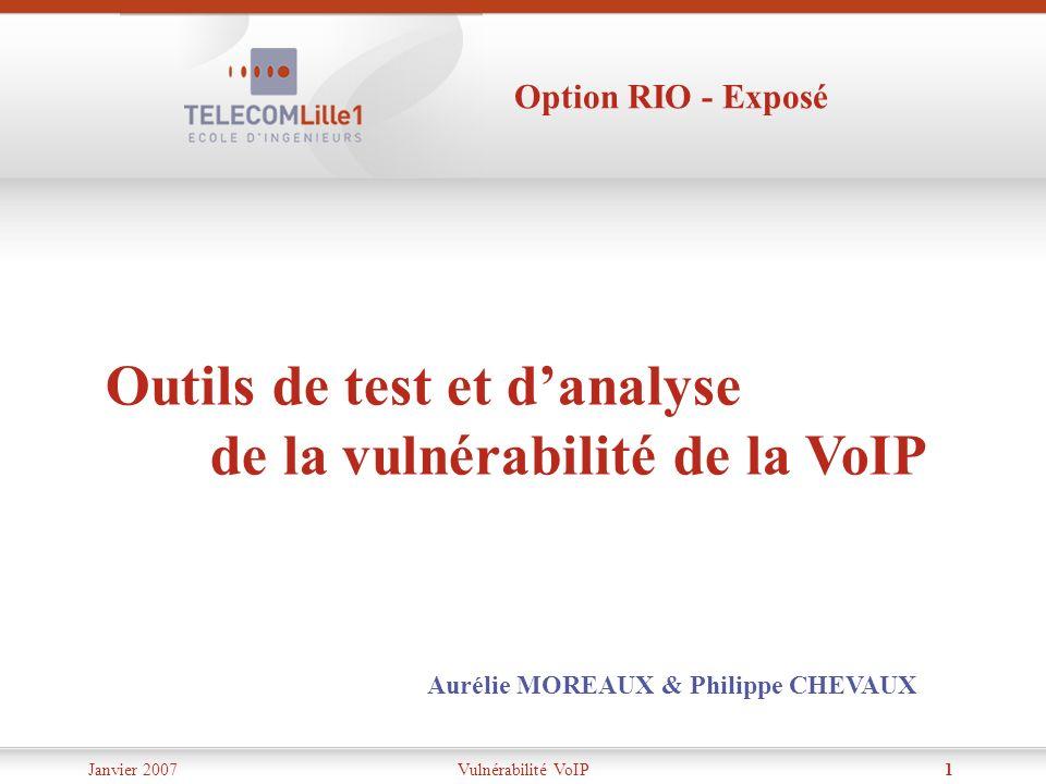 Janvier 2007Vulnérabilité VoIP1 Outils de test et danalyse de la vulnérabilité de la VoIP Aurélie MOREAUX & Philippe CHEVAUX Option RIO - Exposé