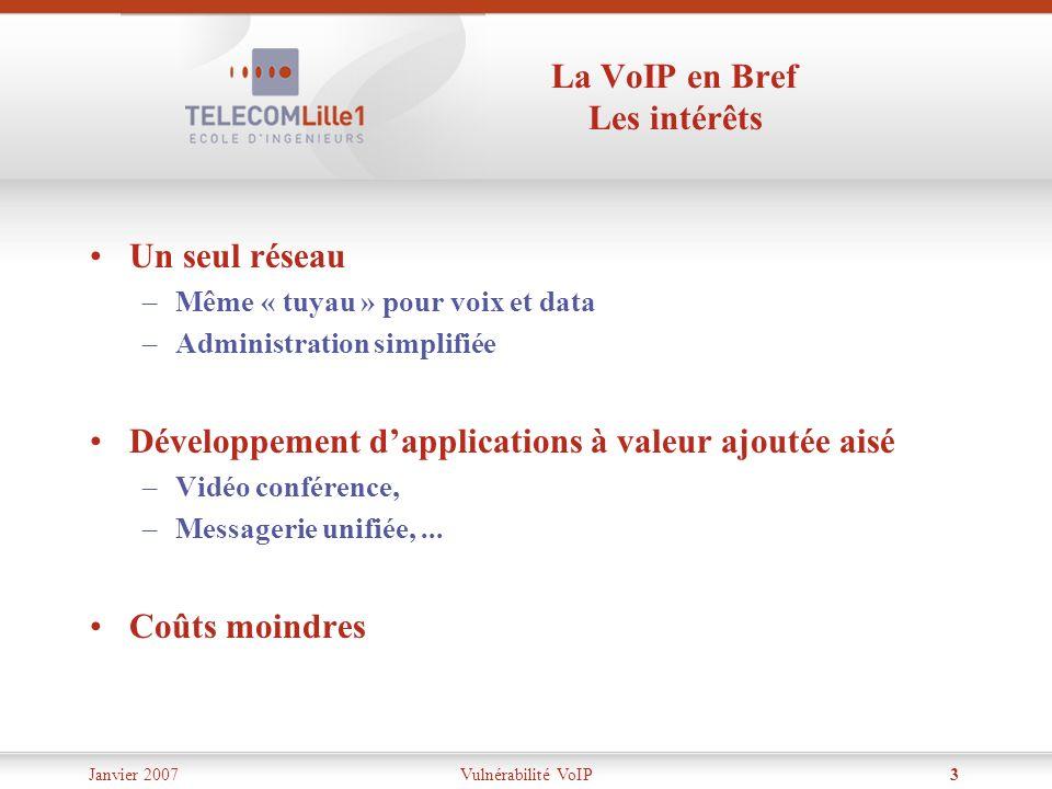 Janvier 2007Vulnérabilité VoIP3 La VoIP en Bref Les intérêts Un seul réseau –Même « tuyau » pour voix et data –Administration simplifiée Développement