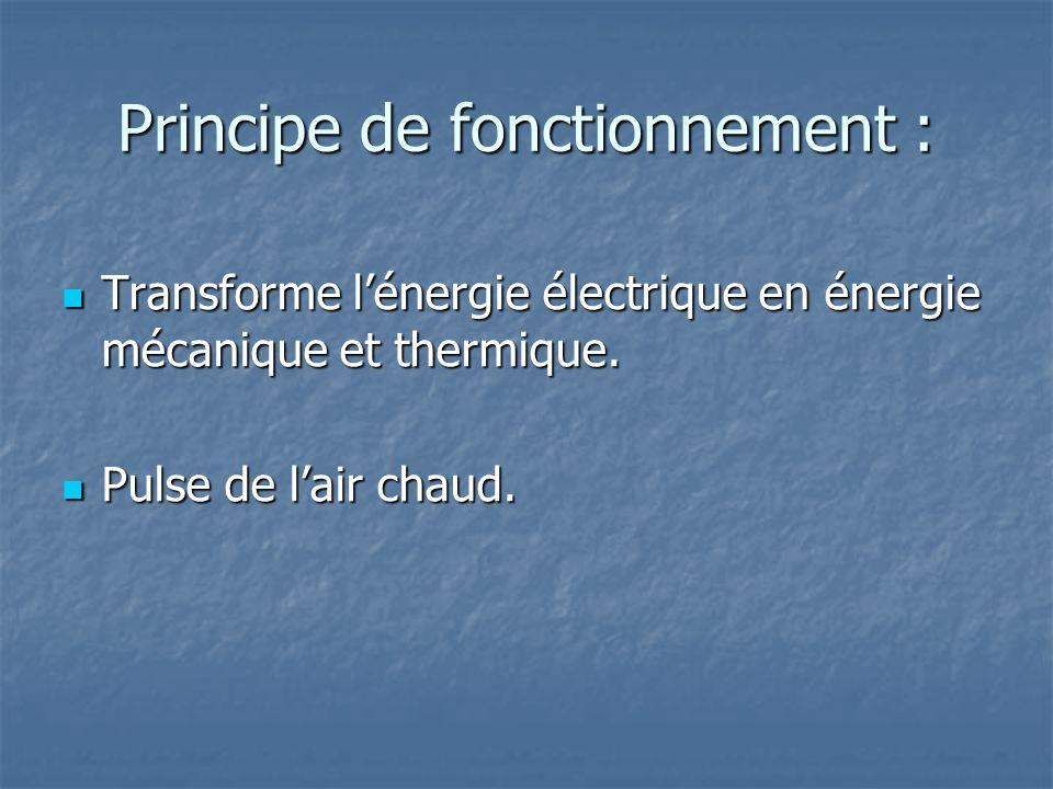 Principe de fonctionnement : Transforme lénergie électrique en énergie mécanique et thermique. Transforme lénergie électrique en énergie mécanique et