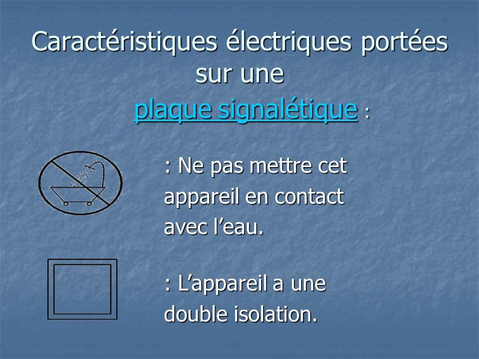 Caractéristiques électriques portées sur une : Lappareil a une double isolation. : Ne pas mettre cet appareil en contact avec leau. plaque signalétiqu