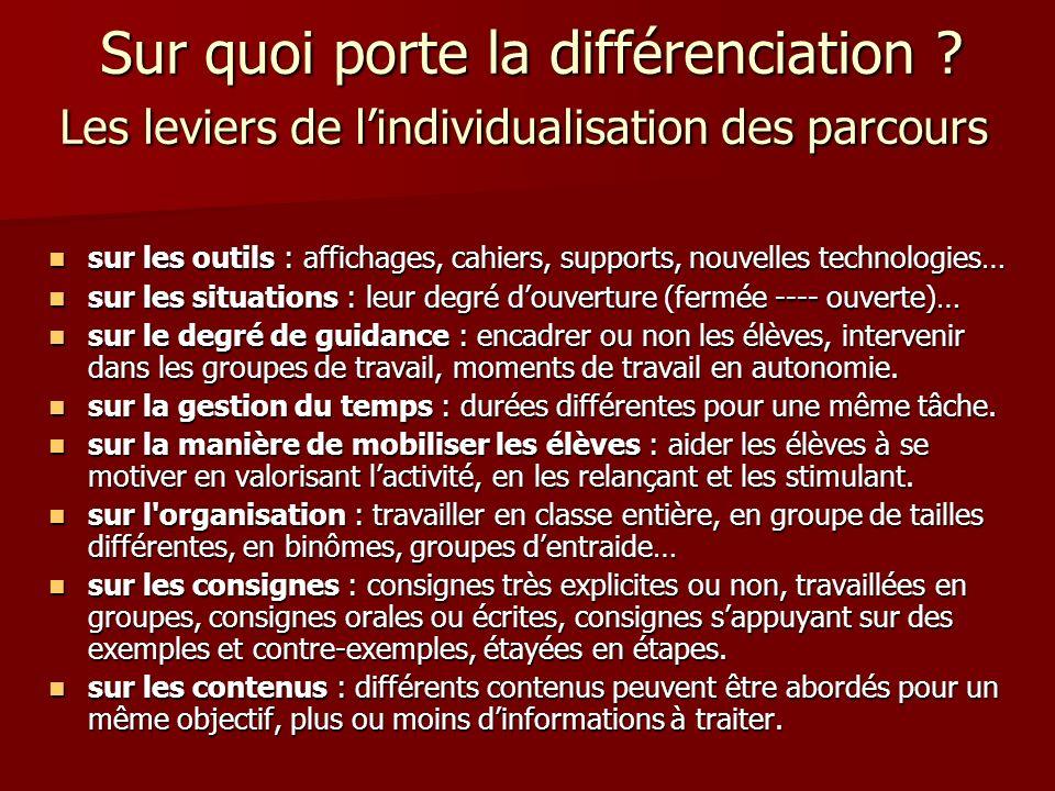 Sur quoi porte la différenciation ? Les leviers de lindividualisation des parcours Sur quoi porte la différenciation ? Les leviers de lindividualisati