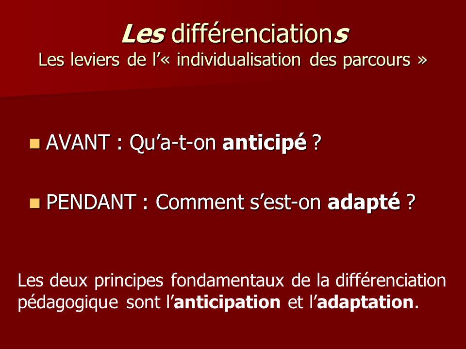 Les différenciations Les leviers de l« individualisation des parcours » AVANT : Qua-t-on anticipé ? AVANT : Qua-t-on anticipé ? PENDANT : Comment sest