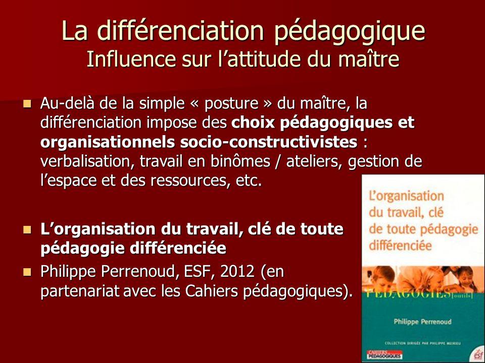 Lorganisation du travail, clé de toute pédagogie différenciée Lorganisation du travail, clé de toute pédagogie différenciée Philippe Perrenoud, ESF, 2