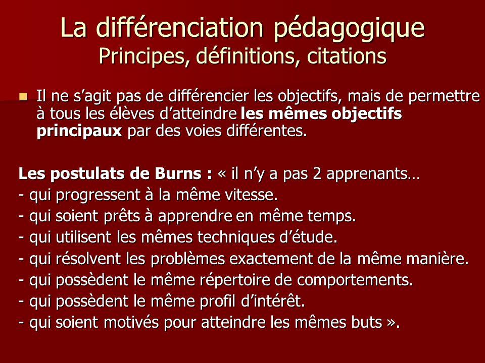 La différenciation pédagogique Principes, définitions, citations Il ne sagit pas de différencier les objectifs, mais de permettre à tous les élèves da