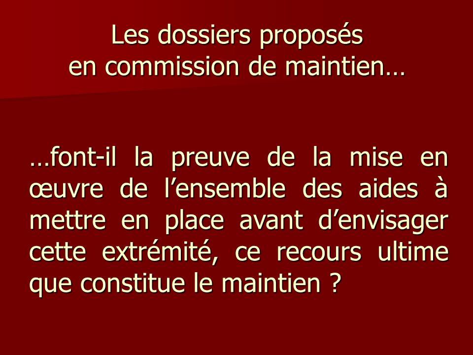 Les dossiers proposés en commission de maintien… …font-il la preuve de la mise en œuvre de lensemble des aides à mettre en place avant denvisager cett