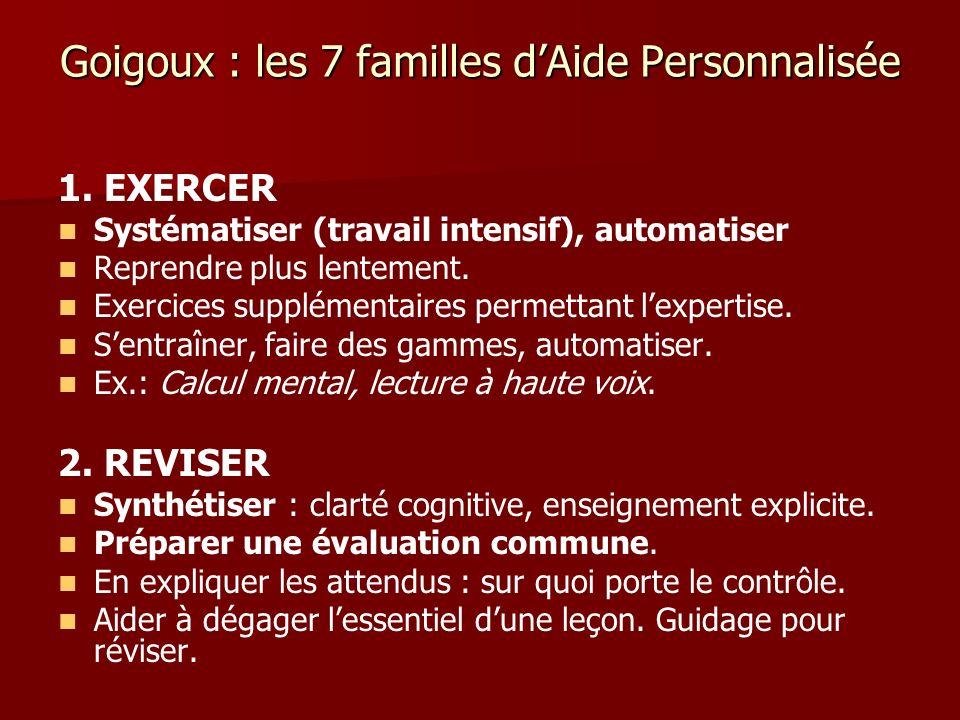 Goigoux : les 7 familles dAide Personnalisée 1. EXERCER Systématiser (travail intensif), automatiser Reprendre plus lentement. Exercices supplémentair