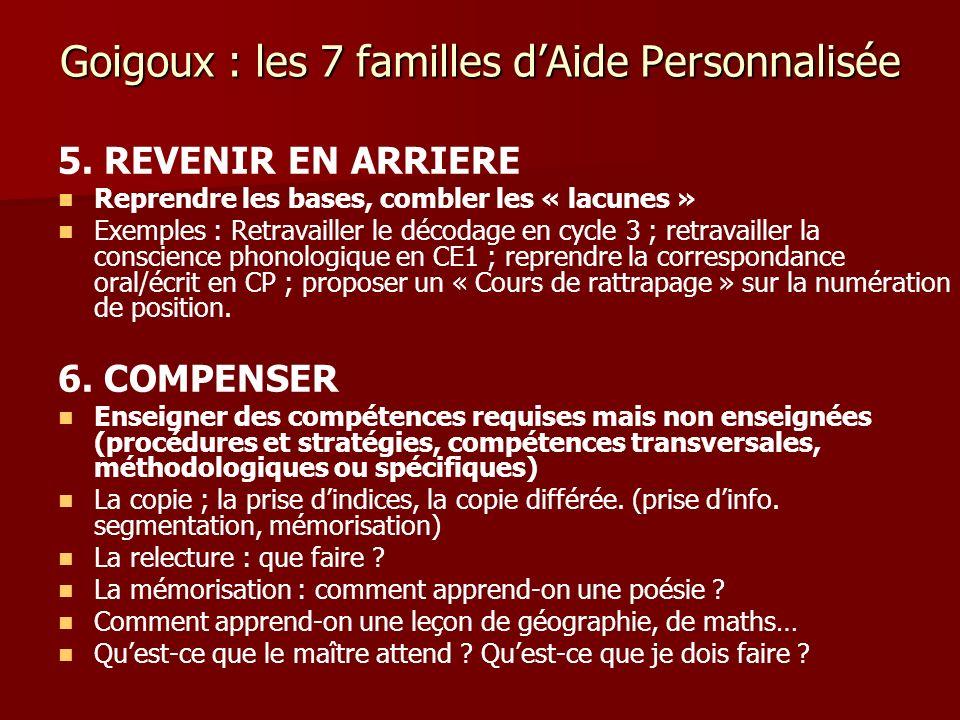 Goigoux : les 7 familles dAide Personnalisée 5. REVENIR EN ARRIERE Reprendre les bases, combler les « lacunes » Exemples : Retravailler le décodage en