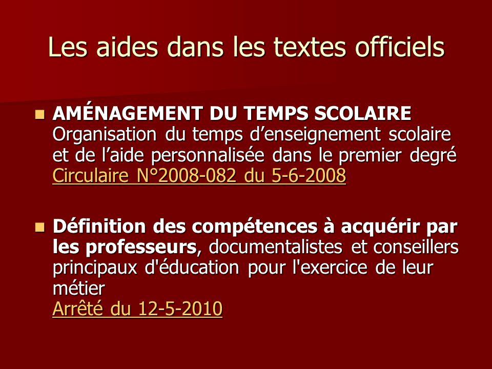 Les aides dans les textes officiels AMÉNAGEMENT DU TEMPS SCOLAIRE Organisation du temps denseignement scolaire et de laide personnalisée dans le premi