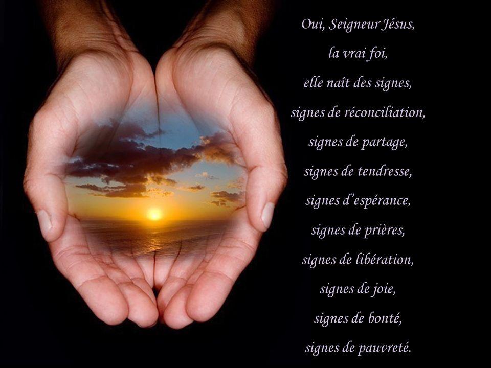 Oui, Seigneur Jésus, la vrai foi, elle naît des signes, signes de réconciliation, signes de partage, signes de tendresse, signes despérance, signes de prières, signes de libération, signes de joie, signes de bonté, signes de pauvreté.