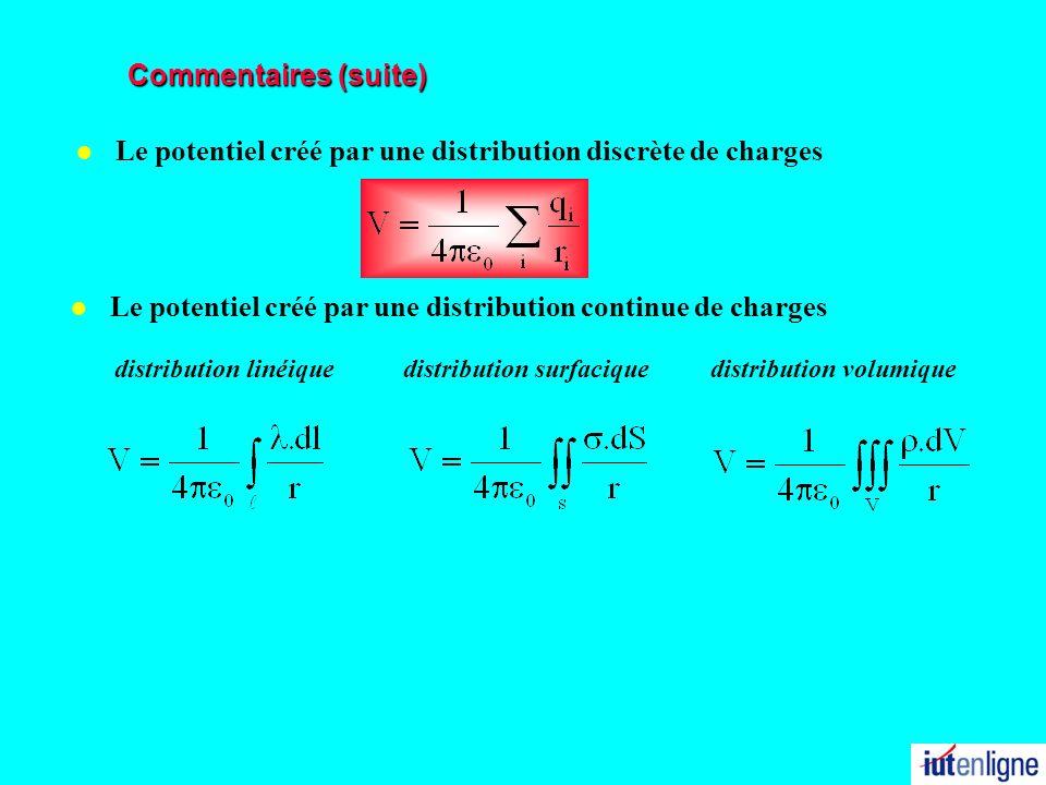 Commentaires (suite) l Le potentiel créé par une distribution continue de charges l Le potentiel créé par une distribution discrète de charges distrib