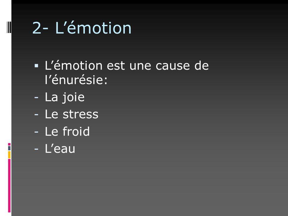 2- Lémotion Lémotion est une cause de lénurésie: - La joie - Le stress - Le froid - Leau