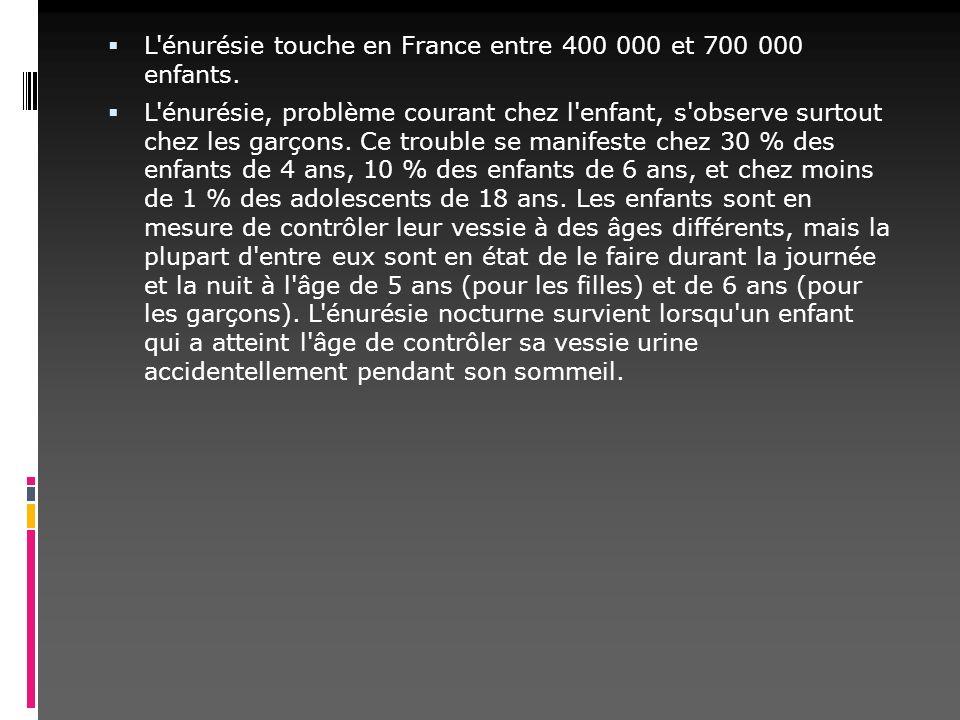 L'énurésie touche en France entre 400 000 et 700 000 enfants. L'énurésie, problème courant chez l'enfant, s'observe surtout chez les garçons. Ce troub