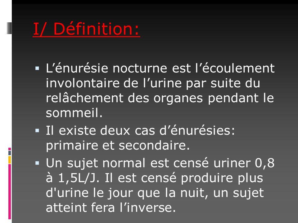 I/ Définition: Lénurésie nocturne est lécoulement involontaire de lurine par suite du relâchement des organes pendant le sommeil. Il existe deux cas d