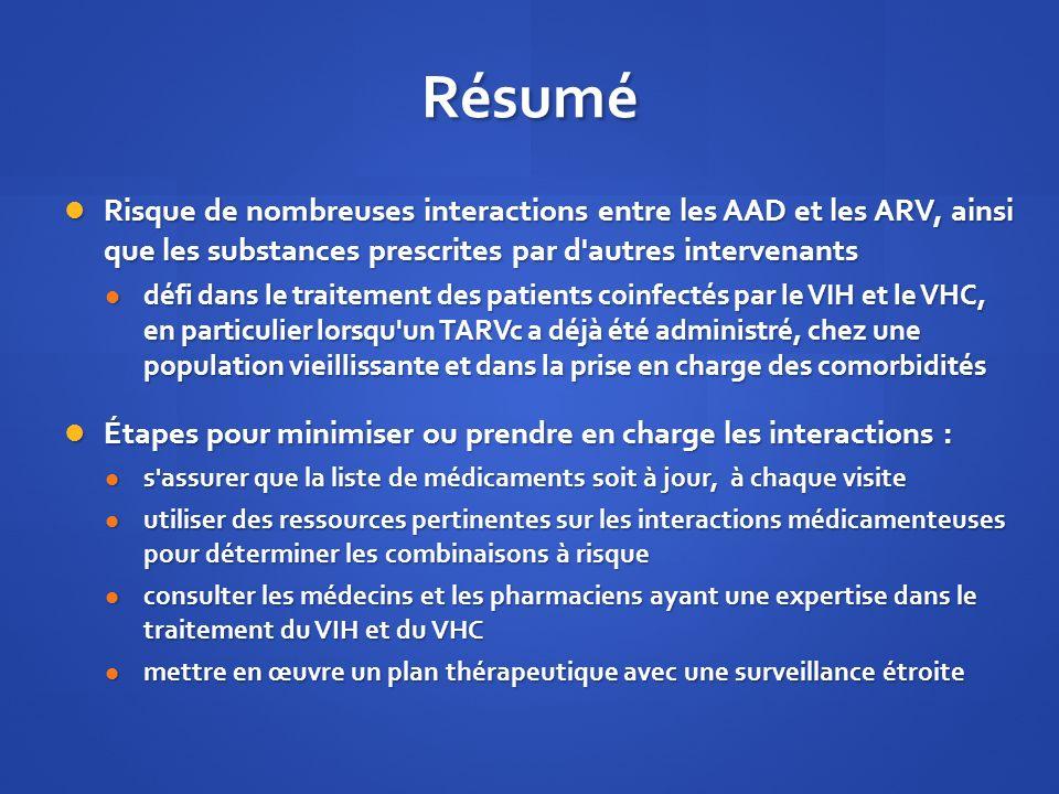 Résumé Risque de nombreuses interactions entre les AAD et les ARV, ainsi que les substances prescrites par d'autres intervenants Risque de nombreuses