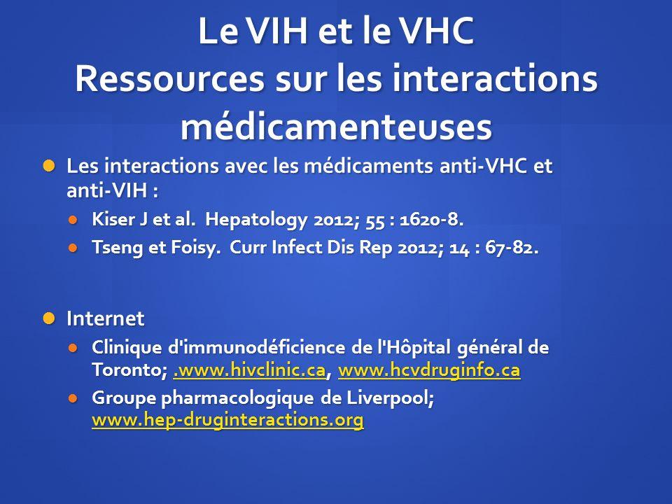 Le VIH et le VHC Ressources sur les interactions médicamenteuses Les interactions avec les médicaments anti-VHC et anti-VIH : Les interactions avec le