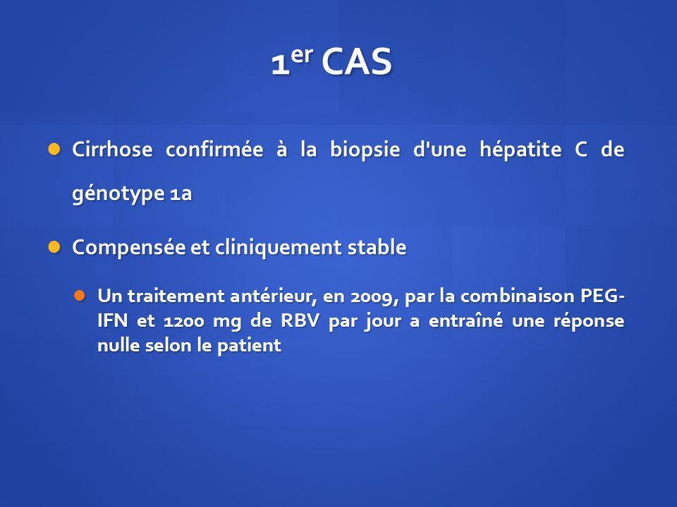 1 er CAS Cirrhose confirmée à la biopsie d'une hépatite C de génotype 1a Cirrhose confirmée à la biopsie d'une hépatite C de génotype 1a Compensée et