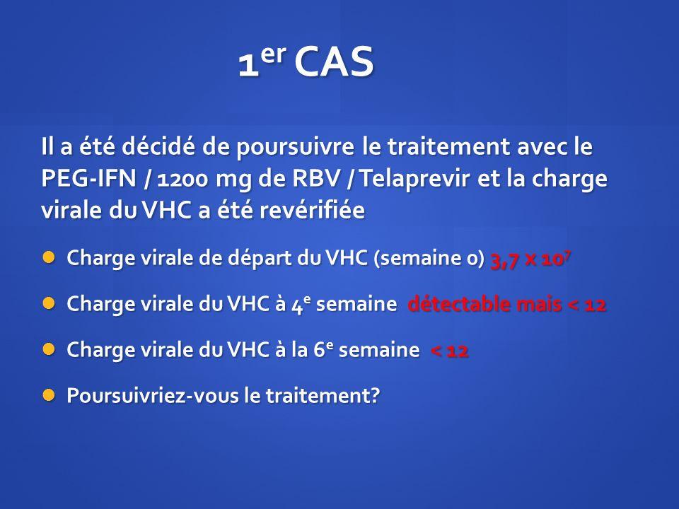 1 er CAS Il a été décidé de poursuivre le traitement avec le PEG-IFN / 1200 mg de RBV / Telaprevir et la charge virale du VHC a été revérifiée Charge