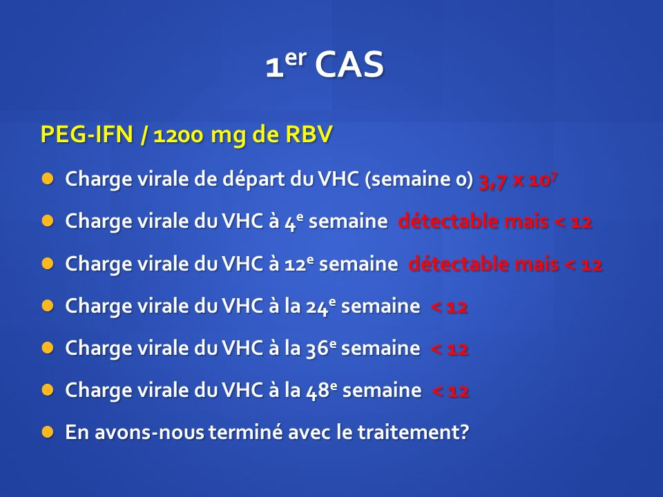1 er CAS PEG-IFN / 1200 mg de RBV Charge virale de départ du VHC (semaine 0) 3,7 x 10 7 Charge virale de départ du VHC (semaine 0) 3,7 x 10 7 Charge v