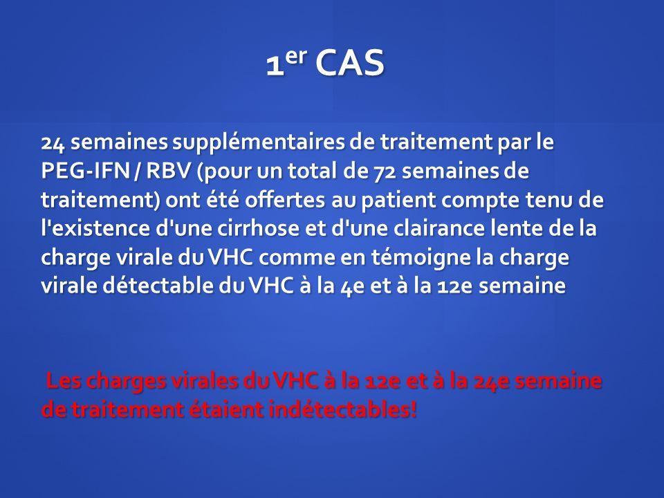 1 er CAS 24 semaines supplémentaires de traitement par le PEG-IFN / RBV (pour un total de 72 semaines de traitement) ont été offertes au patient compt