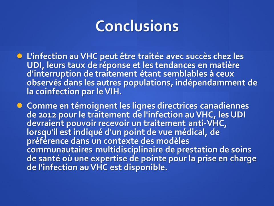 Conclusions L'infection au VHC peut être traitée avec succès chez les UDI, leurs taux de réponse et les tendances en matière d'interruption de traitem