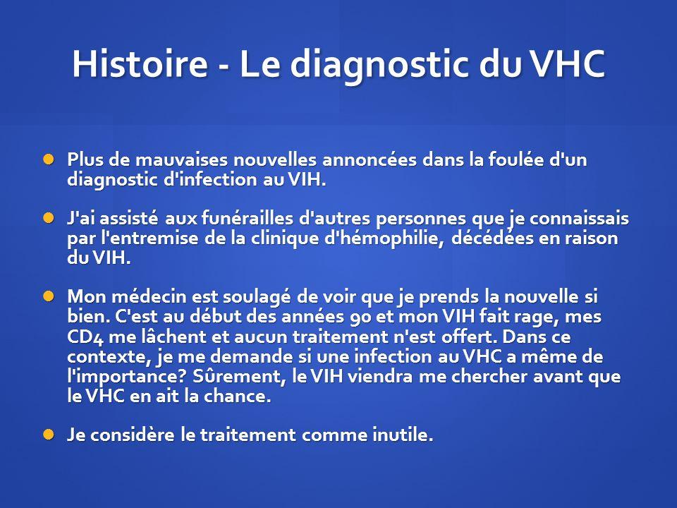 Histoire - Le diagnostic du VHC Plus de mauvaises nouvelles annoncées dans la foulée d'un diagnostic d'infection au VIH. Plus de mauvaises nouvelles a