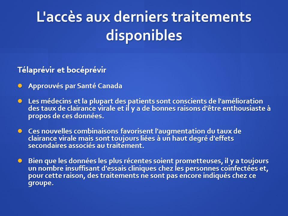 L'accès aux derniers traitements disponibles Télaprévir et bocéprévir Approuvés par Santé Canada Approuvés par Santé Canada Les médecins et la plupart