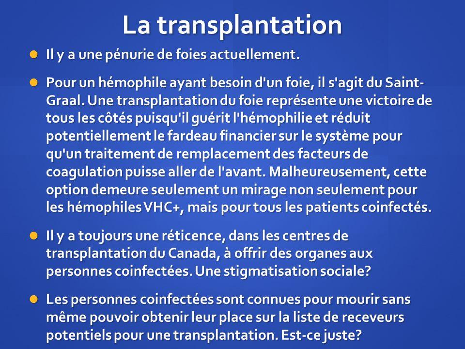 La transplantation Il y a une pénurie de foies actuellement. Il y a une pénurie de foies actuellement. Pour un hémophile ayant besoin d'un foie, il s'