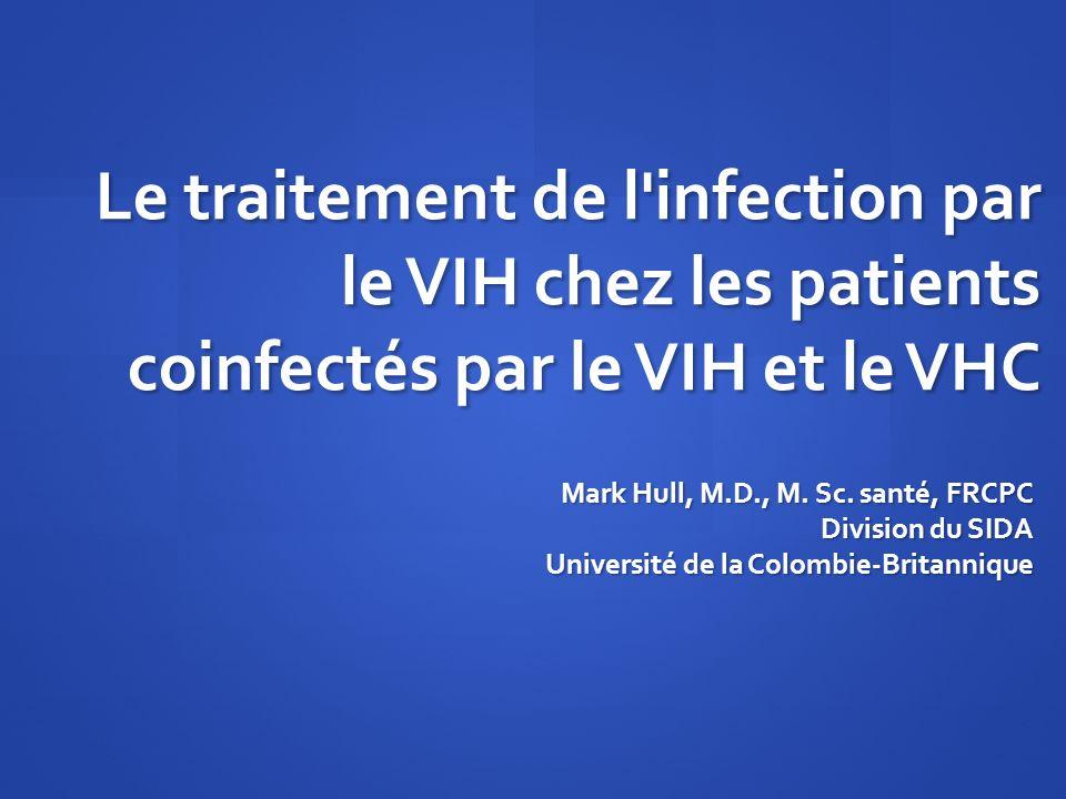 Le traitement de l'infection par le VIH chez les patients coinfectés par le VIH et le VHC Mark Hull, M.D., M. Sc. santé, FRCPC Division du SIDA Univer