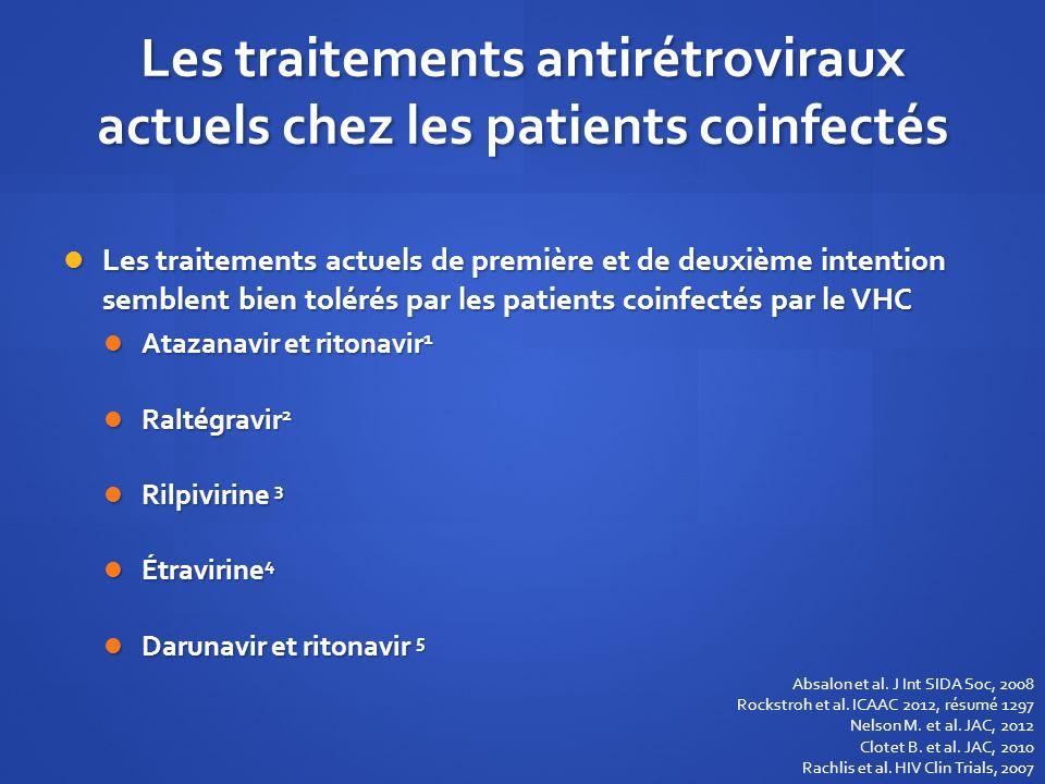 Les traitements antirétroviraux actuels chez les patients coinfectés Les traitements actuels de première et de deuxième intention semblent bien toléré