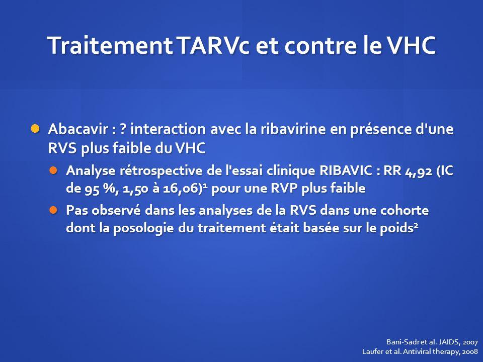 Traitement TARVc et contre le VHC Abacavir : ? interaction avec la ribavirine en présence d'une RVS plus faible du VHC Abacavir : ? interaction avec l