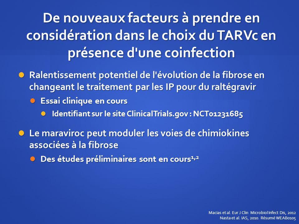 De nouveaux facteurs à prendre en considération dans le choix du TARVc en présence d'une coinfection Ralentissement potentiel de l'évolution de la fib