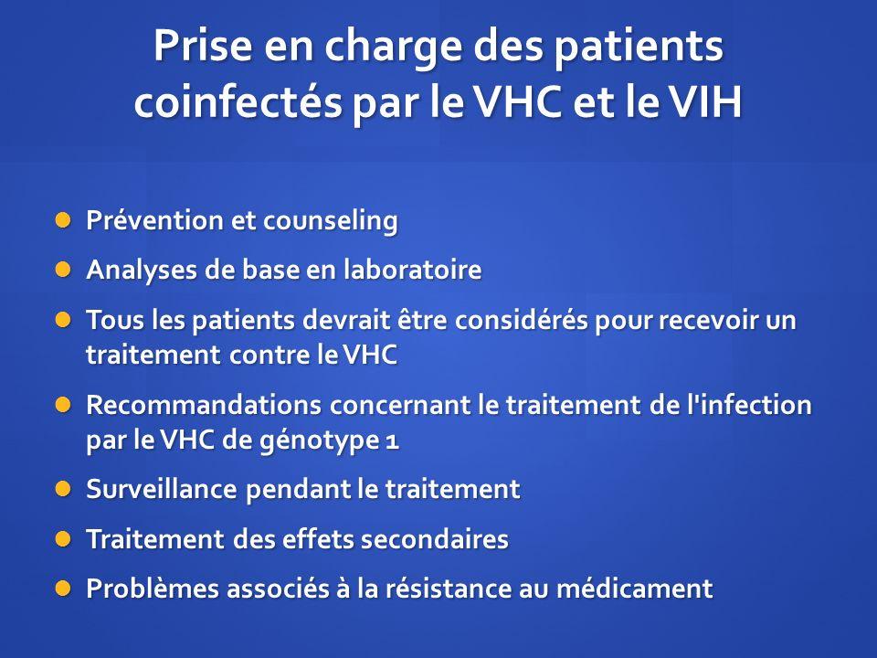 Prise en charge des patients coinfectés par le VHC et le VIH Prévention et counseling Prévention et counseling Analyses de base en laboratoire Analyse