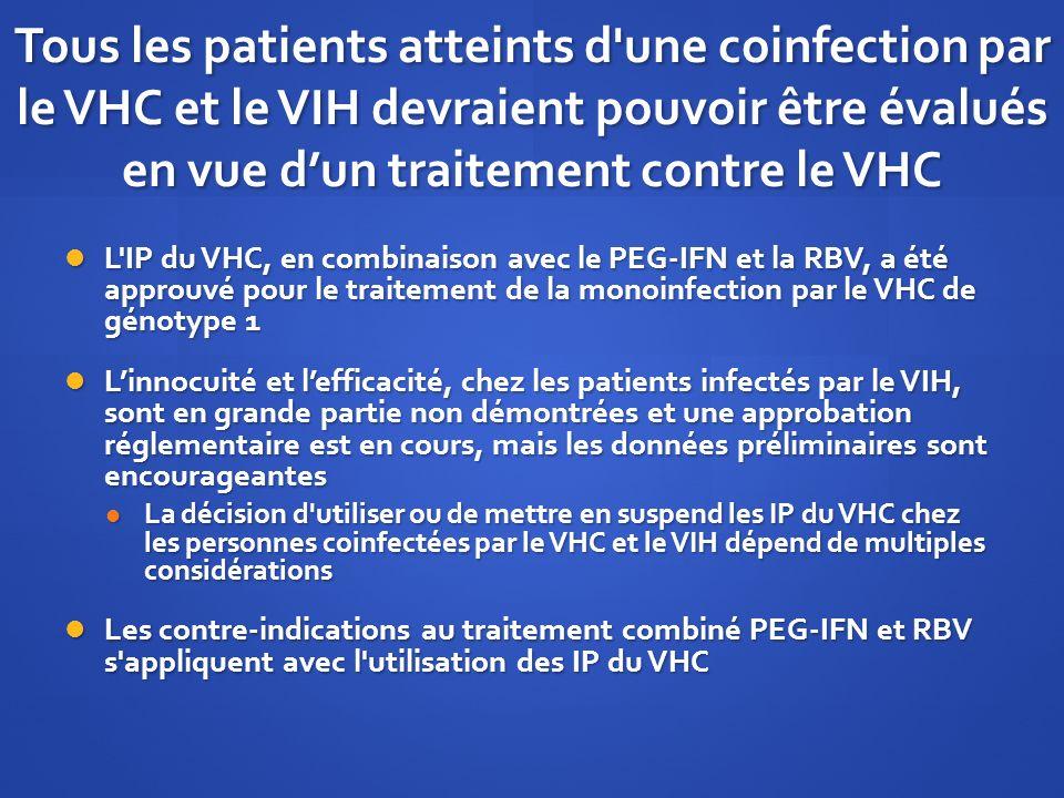 Tous les patients atteints d'une coinfection par le VHC et le VIH devraient pouvoir être évalués en vue dun traitement contre le VHC L'IP du VHC, en c