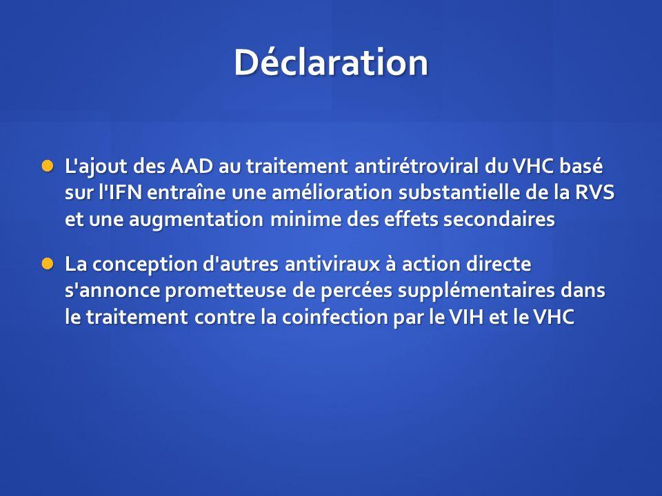 Déclaration L'ajout des AAD au traitement antirétroviral du VHC basé sur l'IFN entraîne une amélioration substantielle de la RVS et une augmentation m